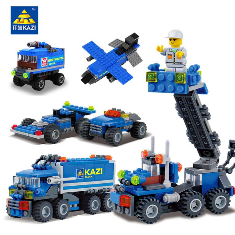 KAZI 163Pcs Kids Building Blocks Birthday Gift Dumper Truck DIY Playmobil Toys Educational Building Blocks Brinquedos Bricks