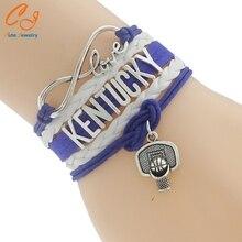 Top Quality Infinity Love KENTUCKY basketball Team Bracelet blue white Customized Wristband friendship Bracelets