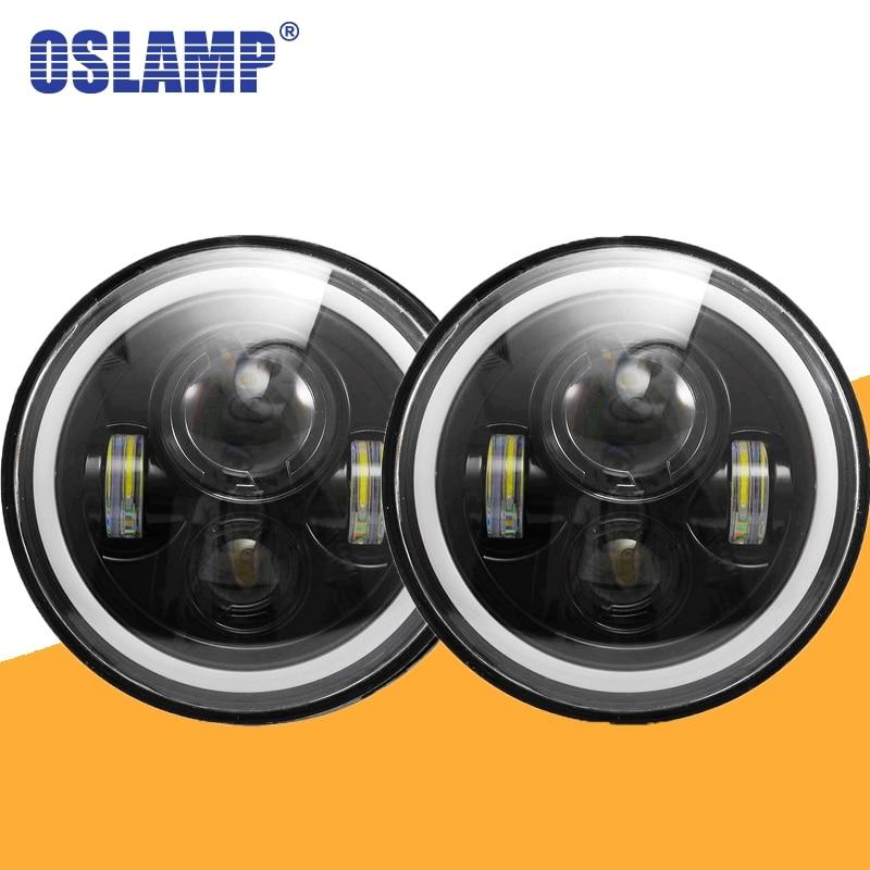 Oslamp Round Led Headlight 30W 7inch High Low Beam Light Halo Angle Eyes DRL Headlamp For