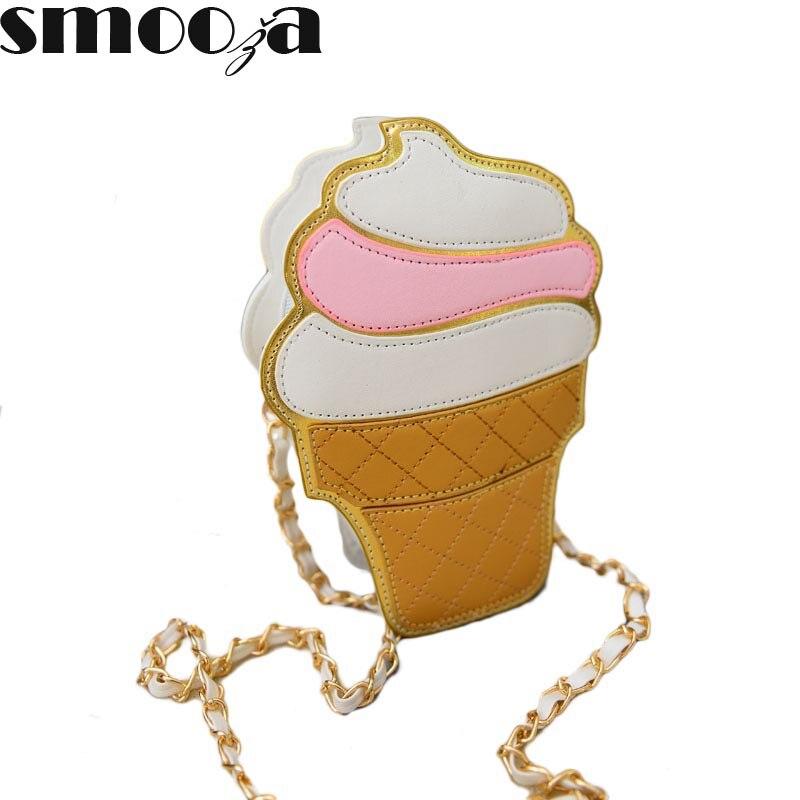 SMOOZA Cute Cartoon Women bag Ice Cream Cupcake Shape Mini Shoulder Bag Metal Ch