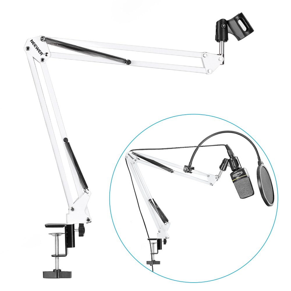 все цены на Neewer Desktop Microphone Suspension Boom Scissor Arm Stand Holder Microphone for Studio Broadcasting,Recording+Pop Filter онлайн