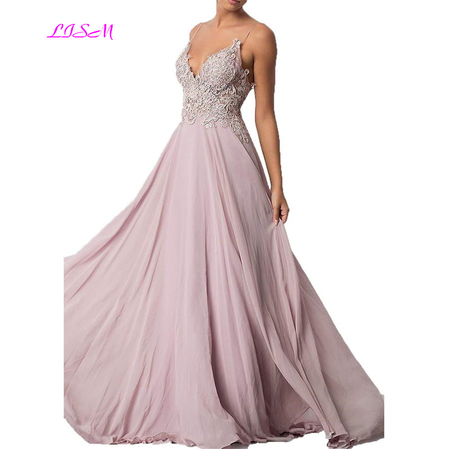Sweetheart Chiffon Long Prom Dress Spaghetti Strap Sexy Backless Evening Dress Pink A-Line Applique Formal Gown vestidos de gala
