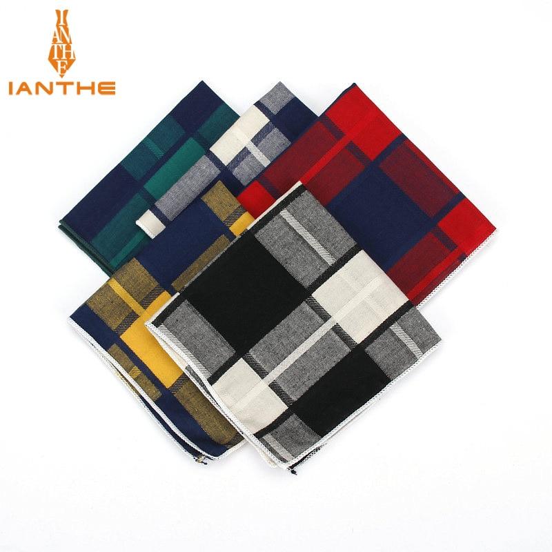 High Quality Men's Hankerchief Scarves Plaid Business Suit Hankies 100% Cotton Casual Men Vintage Pocket Square Handkerchiefs