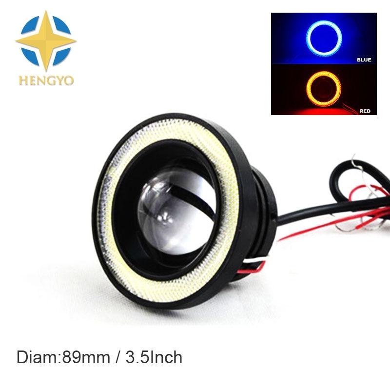 3.5 inch 89MM lot LED DRL Daytime Running Light COB Projector Fog Lens Angel Eye Car Styling Free Shipping 10W X 2 LED COB