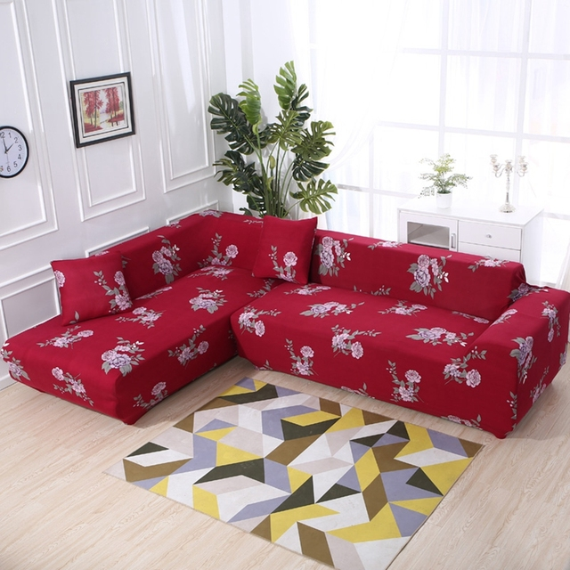 Us 56 1 49 Off 2pcs Cushion Covers Stretch L Shape Sofa Covers For Living Room Red Universal Elastic Sectional Sofa Covers All Inclusive Covers In