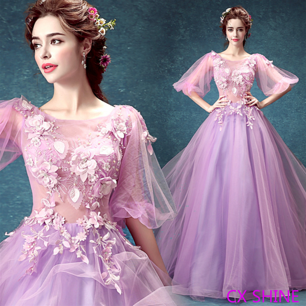 Cx shine half sleeve illusion flower wedding dresses pink for Light purple dresses for weddings