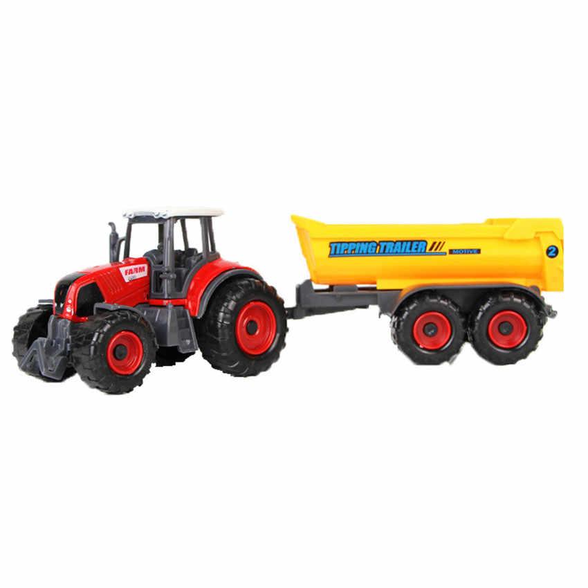 1:32 Model mainan Plastik ABS Mobil Petani Gandum Pemanen Gandum Loader Traktor Pertanian Pendidikan Model Mobil Mainan untuk Anak Anak