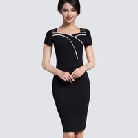 Retro Black Floral Lace Summer Dress Women Sweat Heart Neck Short Sleeve Frilly Optional Illusion Bodycon