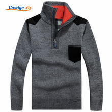 Covrlge 2017 Winter Men's Sweater Plus Velvet Thickening Warm Male Turtleneck Sweaters for Men Fashion Zipper Pullovers MZM025