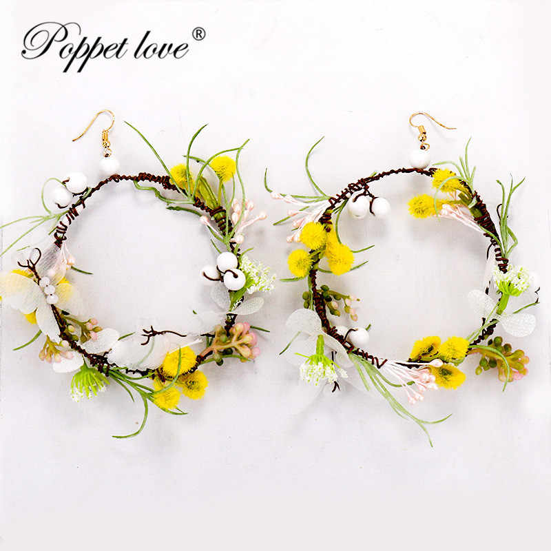 2018 Fashion Jewelry full crystal Flower Rattan weaving Earrings for Women party wedding Blossoms simple round Earrings gift