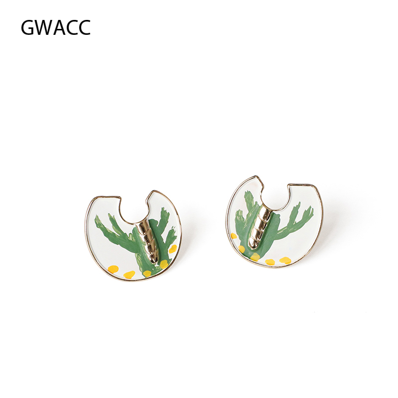 GWACC 2019 Creative Design Cactus Stud Earrings For Women Girls Hand Painted Graffiti U Shape Vintage Original Jewelry