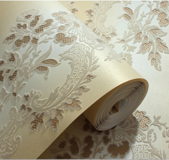 Modern Luxury 3D Sound absorption Wall Paper Damascus Velvet Flock Textile Wallcovering  noise insulation papel de parede sound absorption coefficient analysis