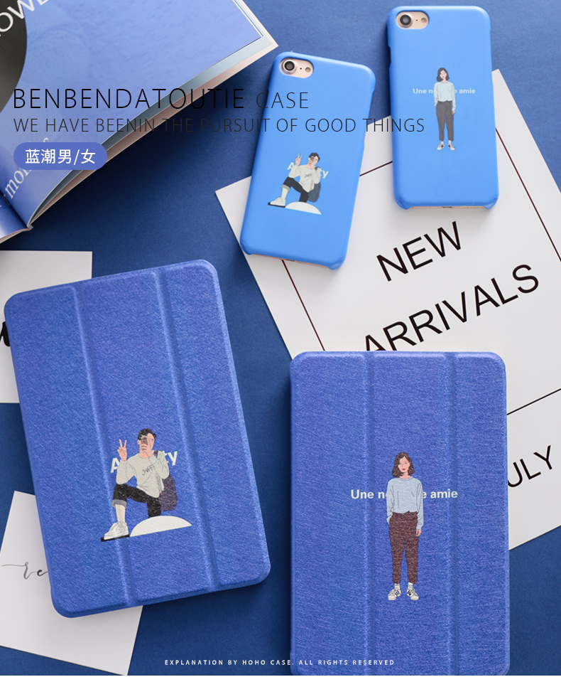 Blue Man Woman Magnet PU Leather Case Flip Cover For iPad Pro 9.7 10.5 Air Air2 Mini 1 2 3 4 Tablet Case For New ipad 9.7 2017 personal magnet pu leather case flip cover for ipad pro 9 7 10 5 air air2 mini 1 2 3 4 tablet case for new ipad 9 7 2017 a1822