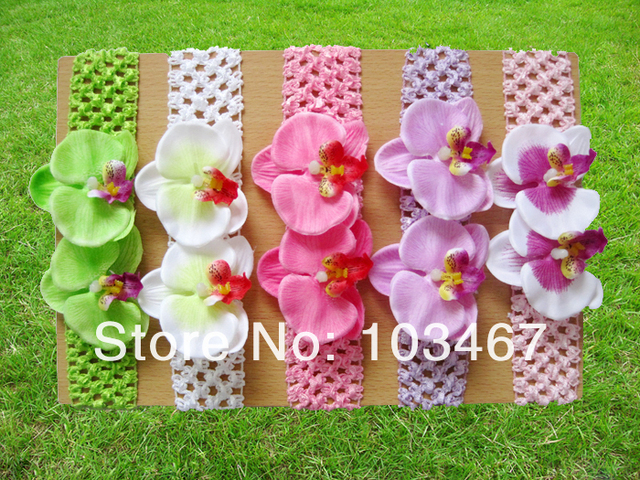 Min order is $10(mix order)  two Moth Orchids flowers on the Crochet Headbands,baby headband,hair accessory