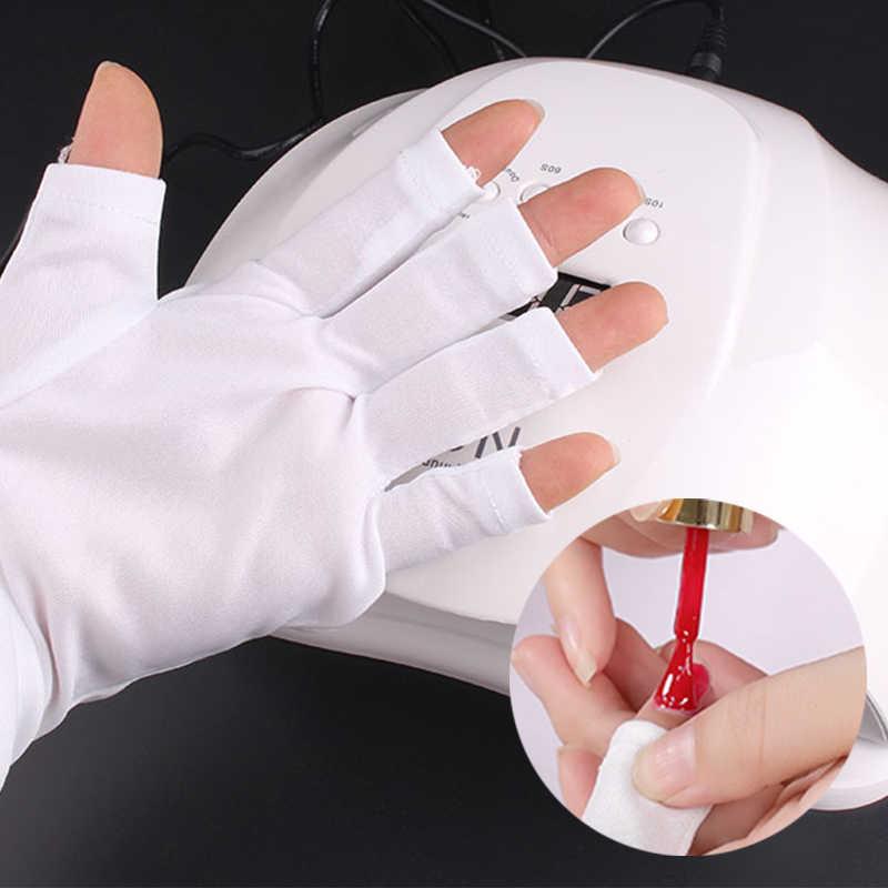 Paire blanche gant Anti-ultraviolet pour Art des ongles pointes de Gel UV gant à bout ouvert lampe UV Gel vernis Protection professionnelle outils pour ongles