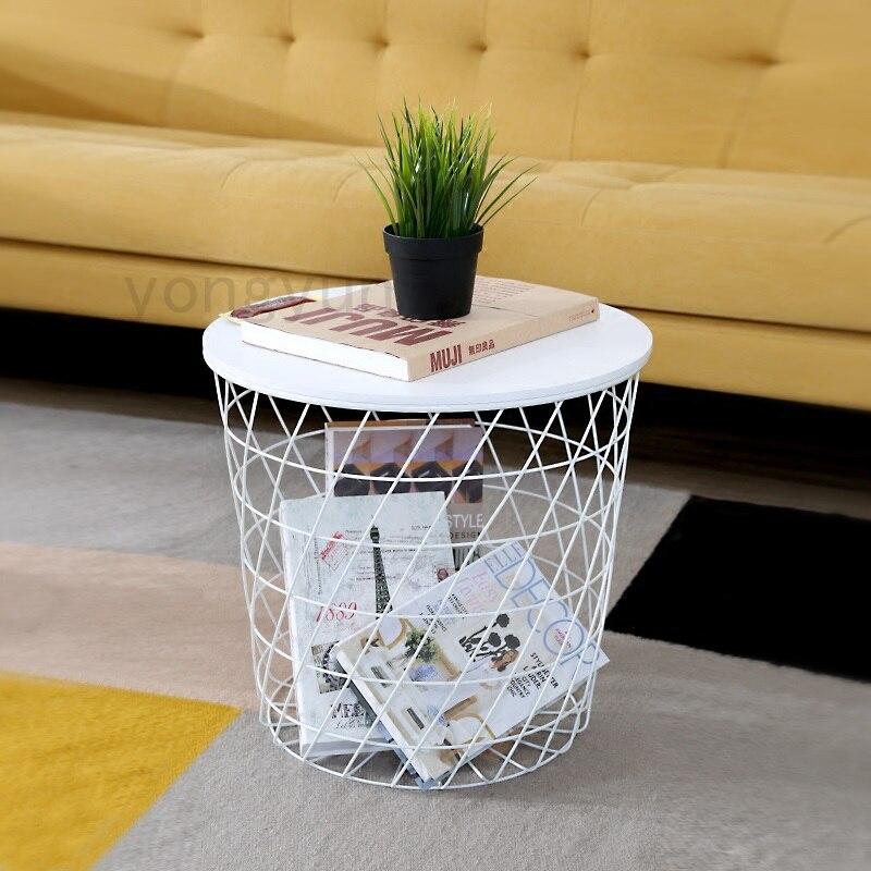 Modern Minimalism Storage Baskets Living Room Furniture Storage Side Table Metal Wire Storage Multifunction Coffee Tea
