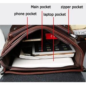Image 3 - Vintage Laptop Lederen Rugzakken Voor School Tassen Mannen Pu Reizen Leisure Rugzakken Retro Toevallige Tas Schooltassen Tiener Studenten
