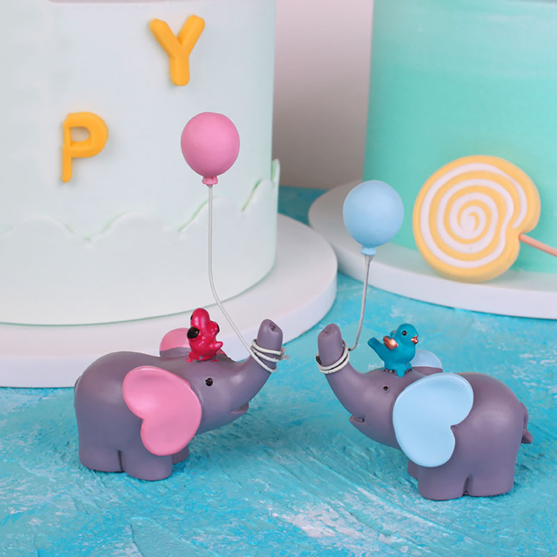 Blue Pink Elephant Balloon Lollipop Happy Birthday Collection Cake Topper Dessert Decoration For Party Lovely Gifts In Decorating Supplies