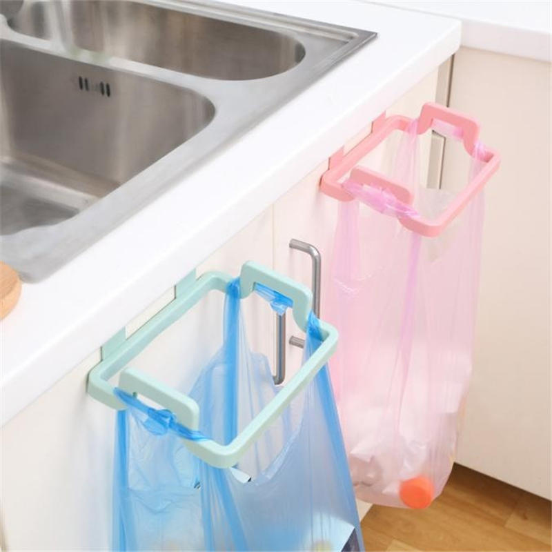 Portable Cupboard Door Back Trash Rack Storage Garbage Bag Holder Hanging Kitchen Cabinets Storage Towel Shelf Holders @C