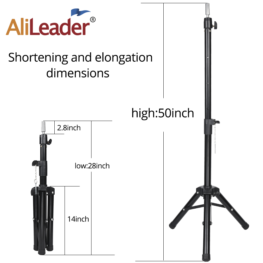Black Tripod for Wigs Head Stand Adjustable Wig Stand for Mannequin Training Head Holder Hairdressing Clamp Tripod Stand Holder 3