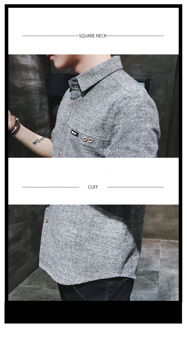 2019 spring new men's shirt Korean version of the self-cultivation youth casual business cotton shirt tide men's boutique shirt 45