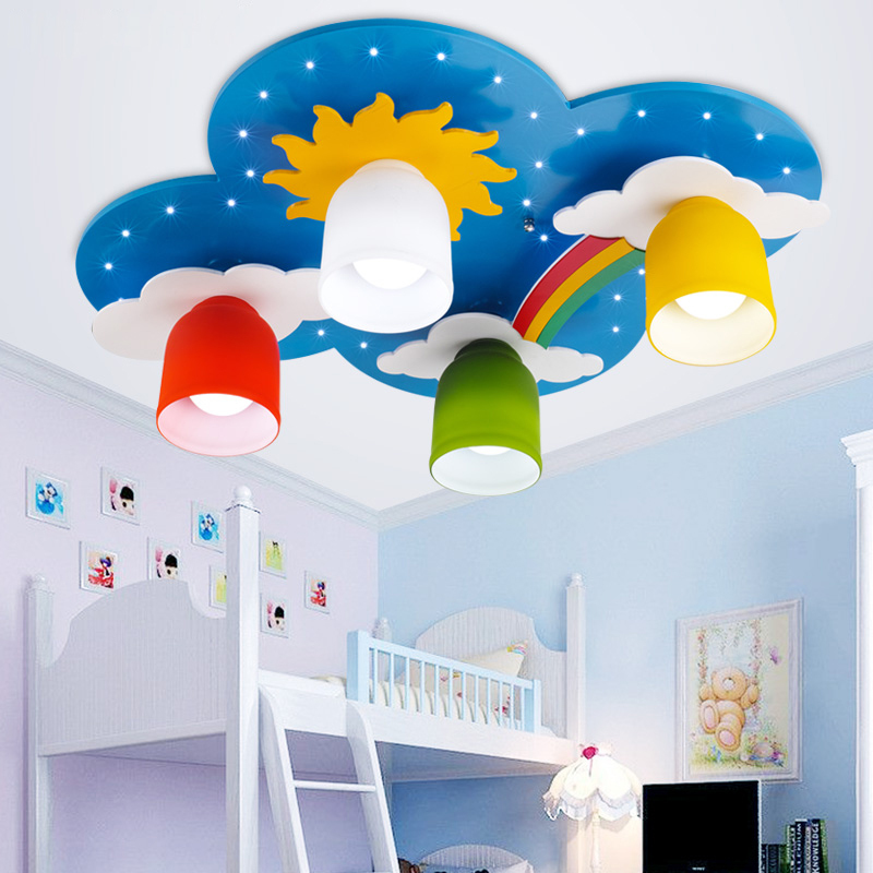 Us 150 1 5 Off Surface Mounted Children Ceiling Lamps Kids Bedroom Cartoon Rainbow Decoration Chandelier Light E27 Source In Lights