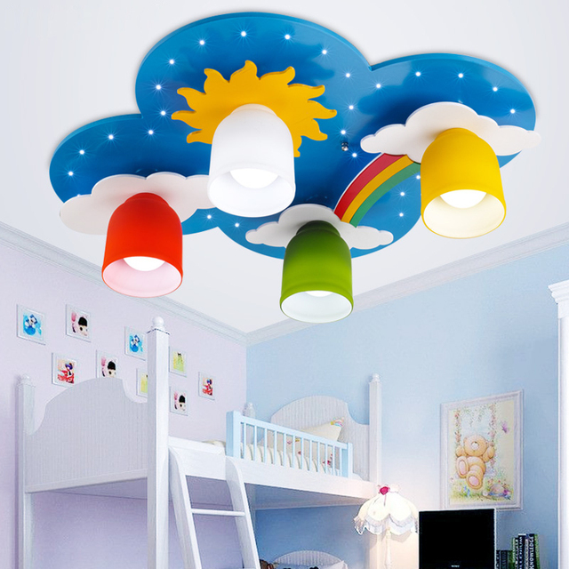 Beau Surface Mounted Children Ceiling Lamps Kids Bedroom Cartoon Rainbow  Decoration Chandelier Light E27 Light Source
