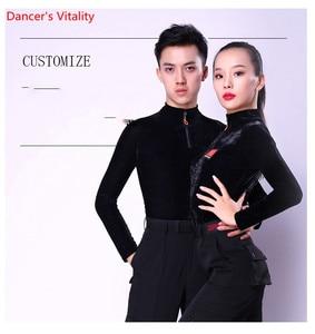 Image 5 - قاعة الرقص مثير كم طويل ملابس الرقص اللاتينية الحديثة للنساء/رجل أزياء جديدة زي الأداء ترتدي