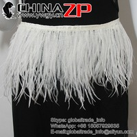 CHINAZP Factory Wholesale 20yards/lot Good Quality Bleached White Ostrich Wing Feather Fringe Trim