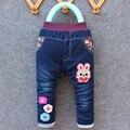 2016 новый зимний прибытие малыш толстые джинсы брюки мальчик и девочка теплые брюки джинсовые кролик design1-4 лет