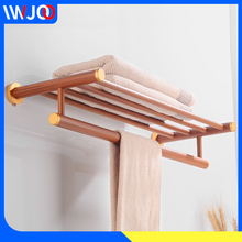 цена на Bathroom Towel Rack Hanging Holder Wood Aluminum Bathroom Shelf Towel Bar Single Wall Mounted Towel Holder Shower Storage Rack