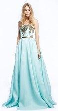 Hellblau Liebsten Applique Chiffon Abendkleider Dubai Saudi-arabien Bodenlangen A-linie Abendkleid Kleid