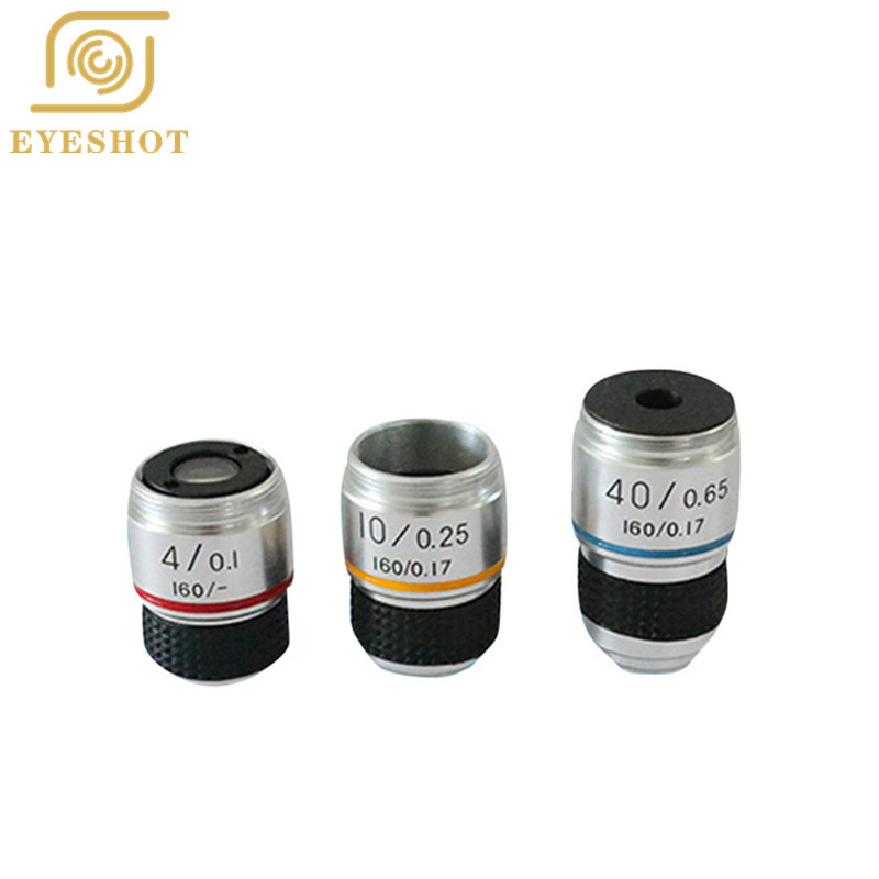185 4X 10X 40X 100X Achromatic Objective Lens For Biological Microscope Accessories Objective Lens Microscope Electronic  Lens