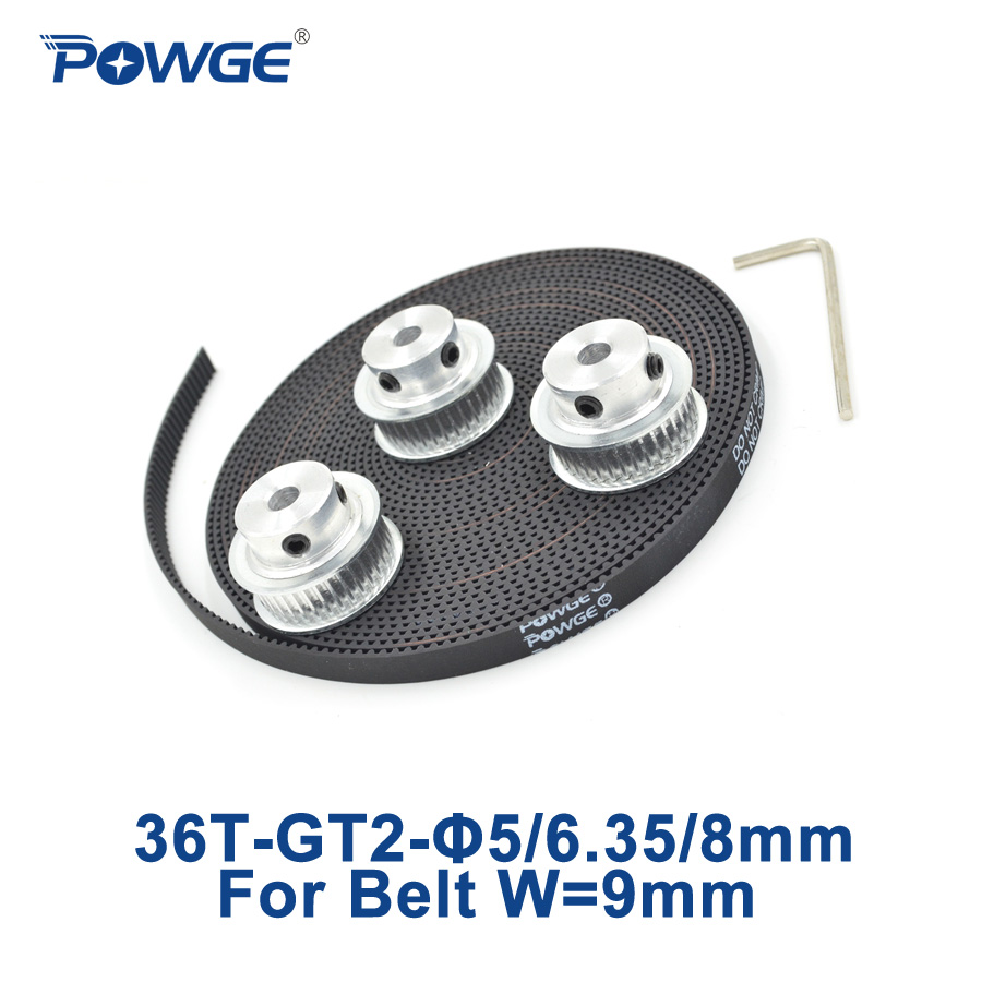 POWGE 3pcs 36 teeth GT2 Synchronous Pulley Bore 5mm 6.35mm 8mm + 5Meters width 9mm GT2 open Timing Belt 2GT pulley 36Teeth 36T powge 36 teeth gt2 timing pulley bore 5mm 6 35mm 8mm for width 9mm gt2 timing belt small backlash 2gt pulley 36teeth 36t 1pcs