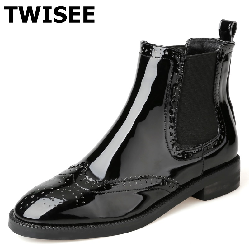 TWISEE black Patent Leather Women Ankle Boots Woman Round Toe Black Shoes Winter low Square Heel 3cm women boots Spring/Autumn only true love women ankle boots full grain leather high square heel round toe shoes woman black
