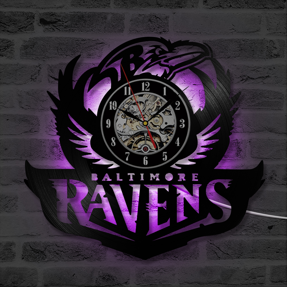 Baltimore Ravens Home Decor: Vintage Baltimore Ravens Vinyl Record Clock Creative Wall