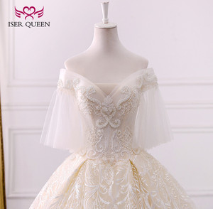 Image 4 - Long Royal Train Vintage Lace Wedding dress 2020 Short Flare Sleeve Pearls Beads Embroidery Ball Gown Wedding dresses WX0121