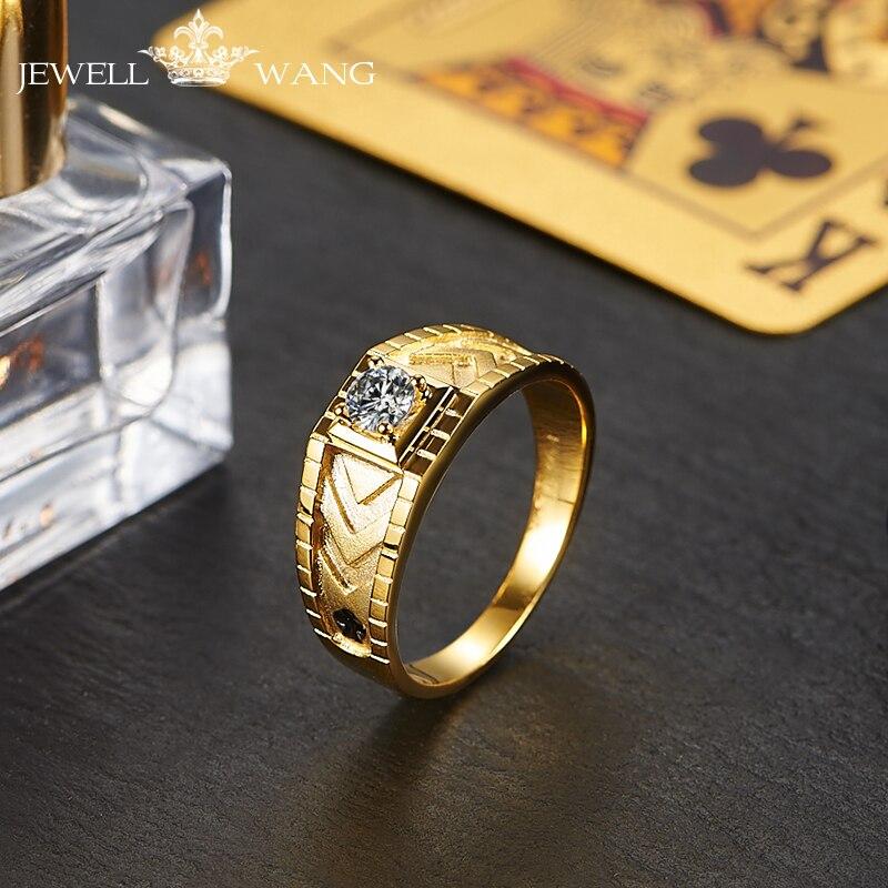 Jewellwang Original Poker 18K Yellow Gold Rings for Men Moissanites 0.3ct Certified vvs Brand Ring Engagement
