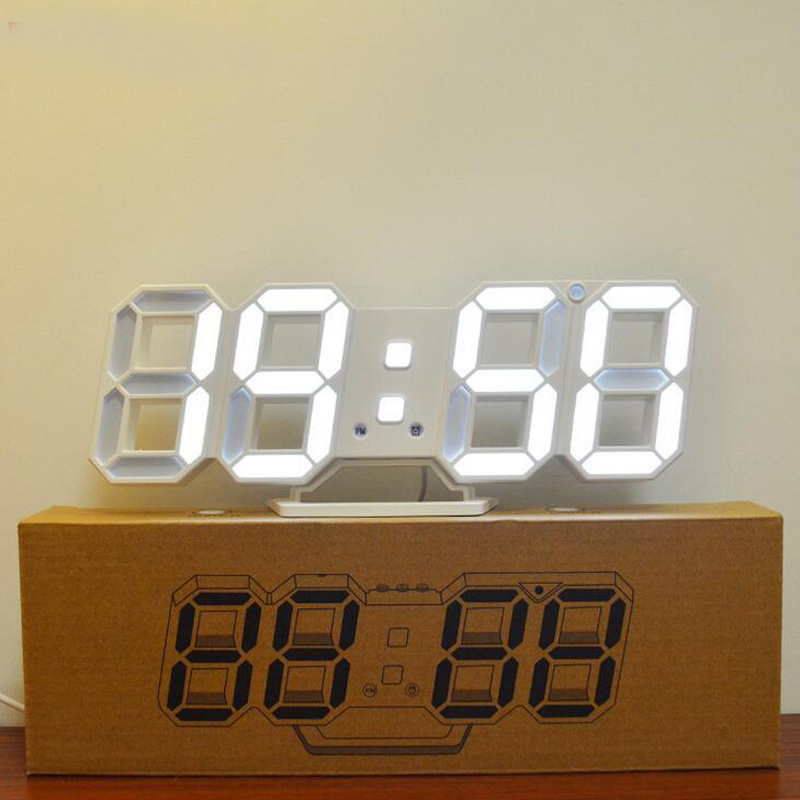 3D Led Digital Alarm Clock Tabletop or Wall Mount Electronic Clock Automatically Rotated Time Date Temperature Brightness adjust
