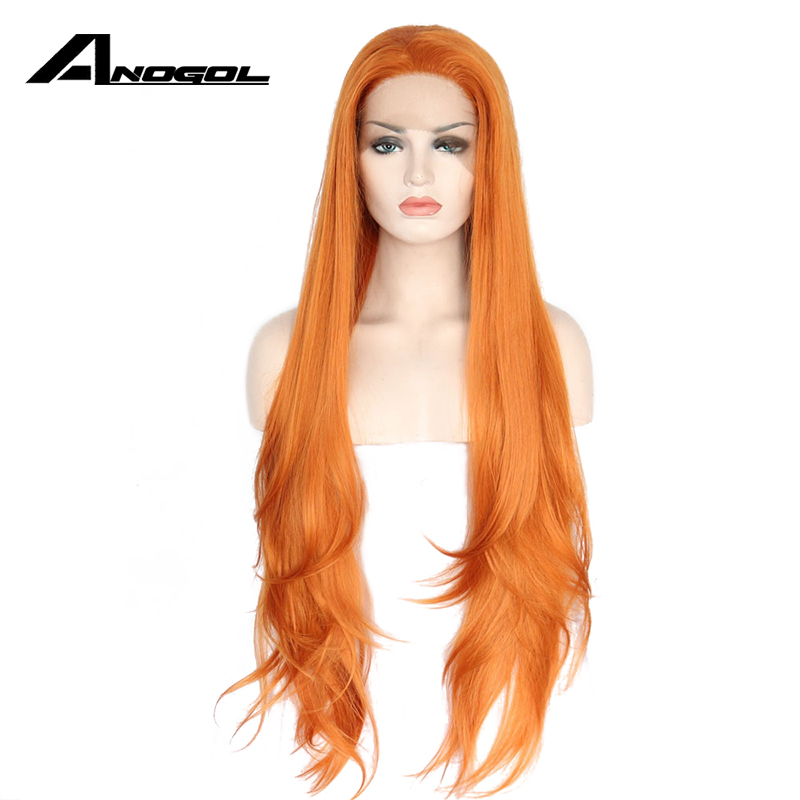 Anogol Glueless High Temperature Fiber Natural Hair Wigs Layered Long Loose Wave Orange Synthetic Lace Front