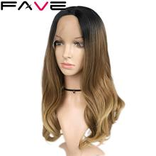 FAVE Lace Front Synthetic Wigs For Black Women Ombre Black Brown Color Middle