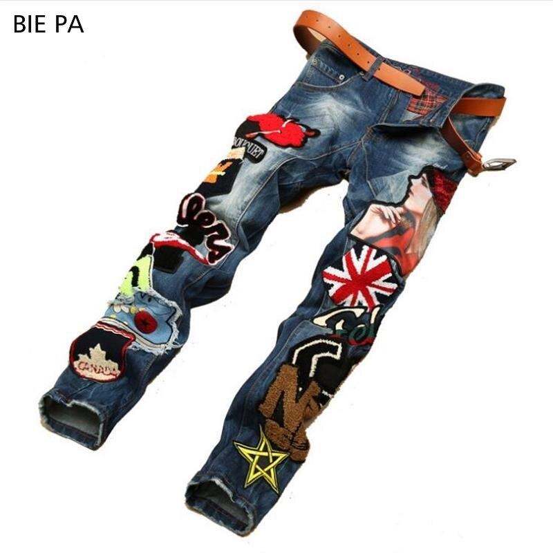 2018 new men   jeans   American style 100% cotton denim hip hop patchwork of national flag fashion   jeans   men #597