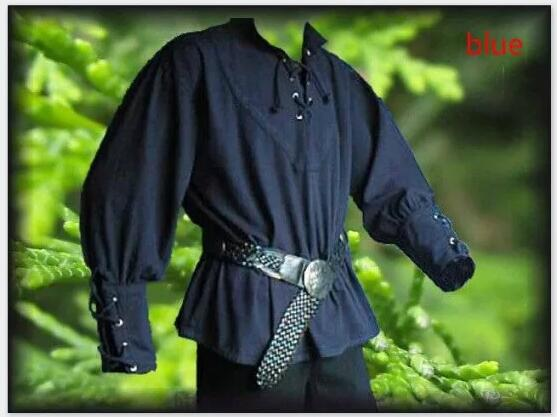 Men Medieval Renaissance Grooms Pirate Reenactment Larp Costume Lacing Up Shirt Bandage Top Middle Age Clothing For Adult 3XL