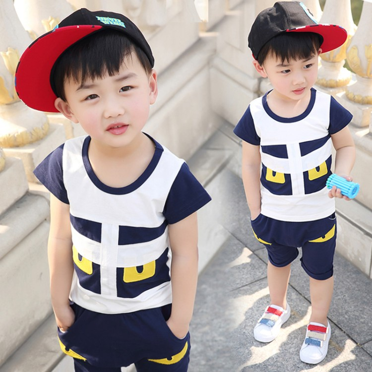 2018 new summer childrens clothing set baby boy cloth Little Monster Short Sleeve Suitt blue color two pcs boy cloth for 1T-5T