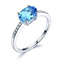 Blue Topaz Engagement Ring 925 Sterling Silver CZ Cubic Zirconia White Yellow Rose Gold Plated Fashion