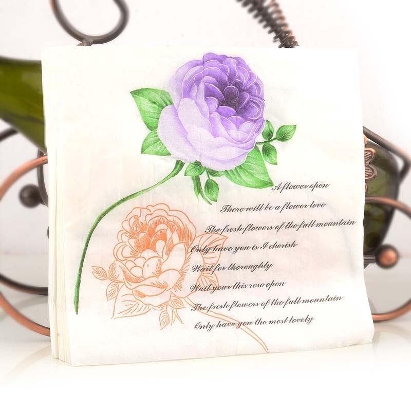 New White Beauty Rose Flowers Paper Napkins Cafe & Party Tissue Napkins Decoupage Decoration Paper 33cm*33cm 20pcs/pack/lot