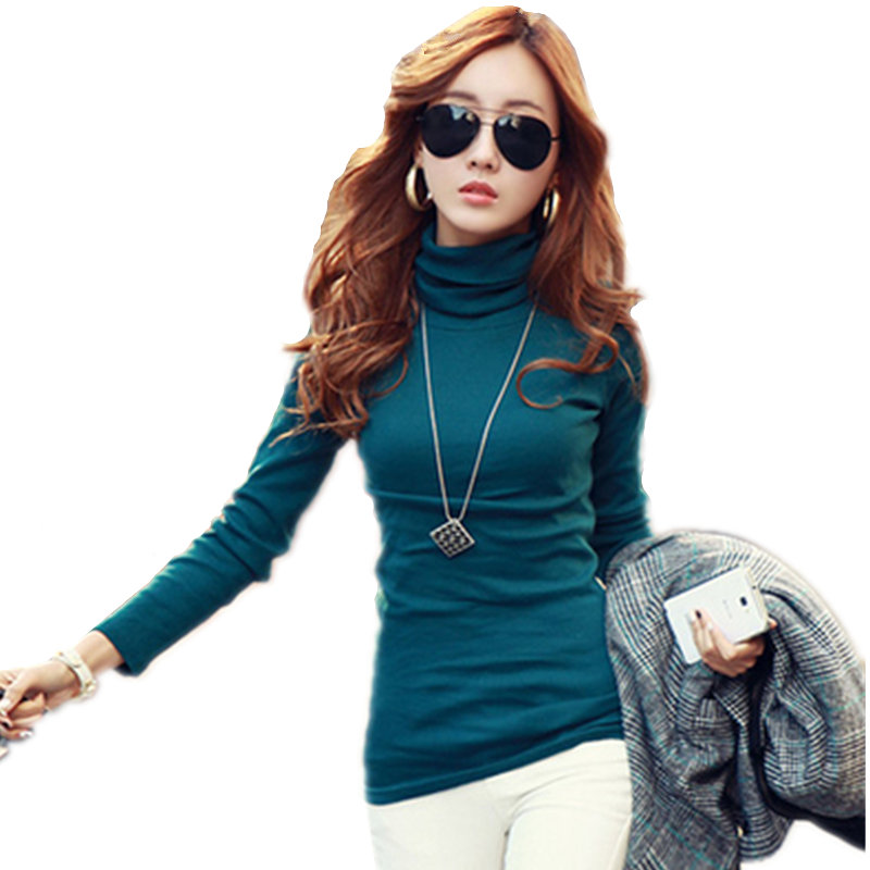 e89389ddf35aba Detail Feedback Questions about HOT New Fall Winter Women Korean t shirt  Female Fashion Models Solid High neck t shirts Long Sleeved Wild Slim tops  women ...