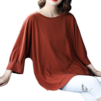 6XL Plus Size Women's T Shirt 2019 Spring New Bottoming Nine Point Long Sleeves Solid O Neck Loose Shirt Slim T shirt Tops Q110
