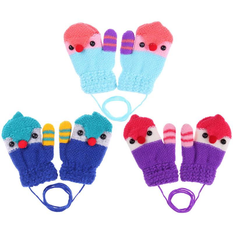 Cartoon Bird Design Baby Boy Girl Mittens Gloves Winter Warm Knitted Hands Protector Gloves Full Finger Children Skiing Gloves