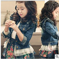 spring new fashion casual baby girl jeans jackets classic wind protects outerwear Soft washed denim jacket
